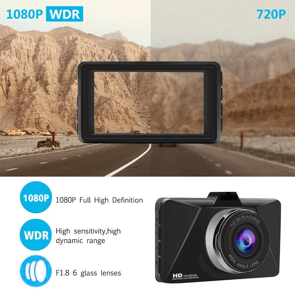 Dash Cam for Cars 3 inch 1080P FHD Super Night Vision Dashboard Camera with 170/° Wide Angle Loop Recording,G-Sensor,Motion Detection,Parking Monitor