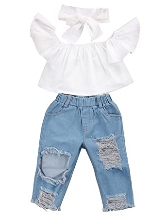 d81467e4ec8 3pcs Baby Girls Kids Off Shoulder Lotus Leaf Top Holes Denim Jeans Headband  Outfits Set (