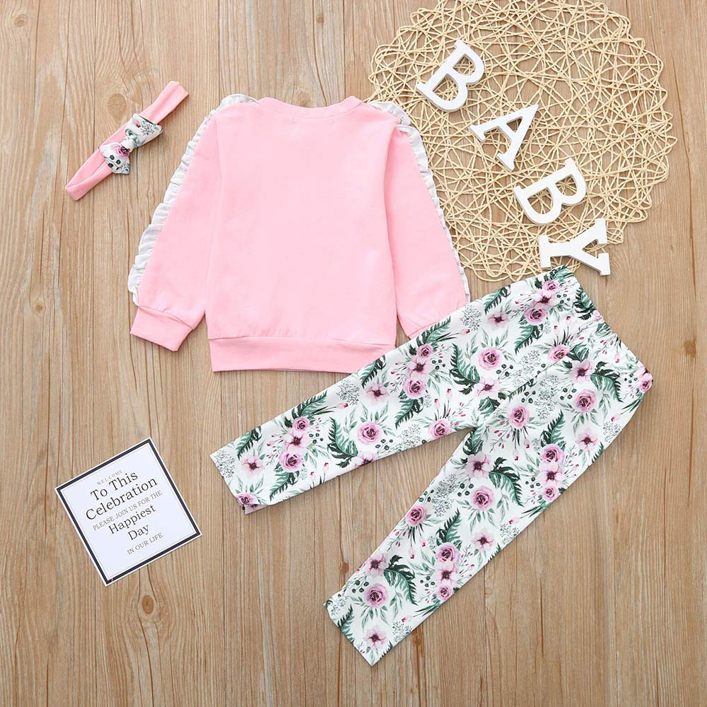 NUWFOR Baby Girls Kids Floral Clothes Long Sleeve T-Shirt+Pants+Headband Outfits Set(Pink,3-6Months by NUWFOR (Image #4)