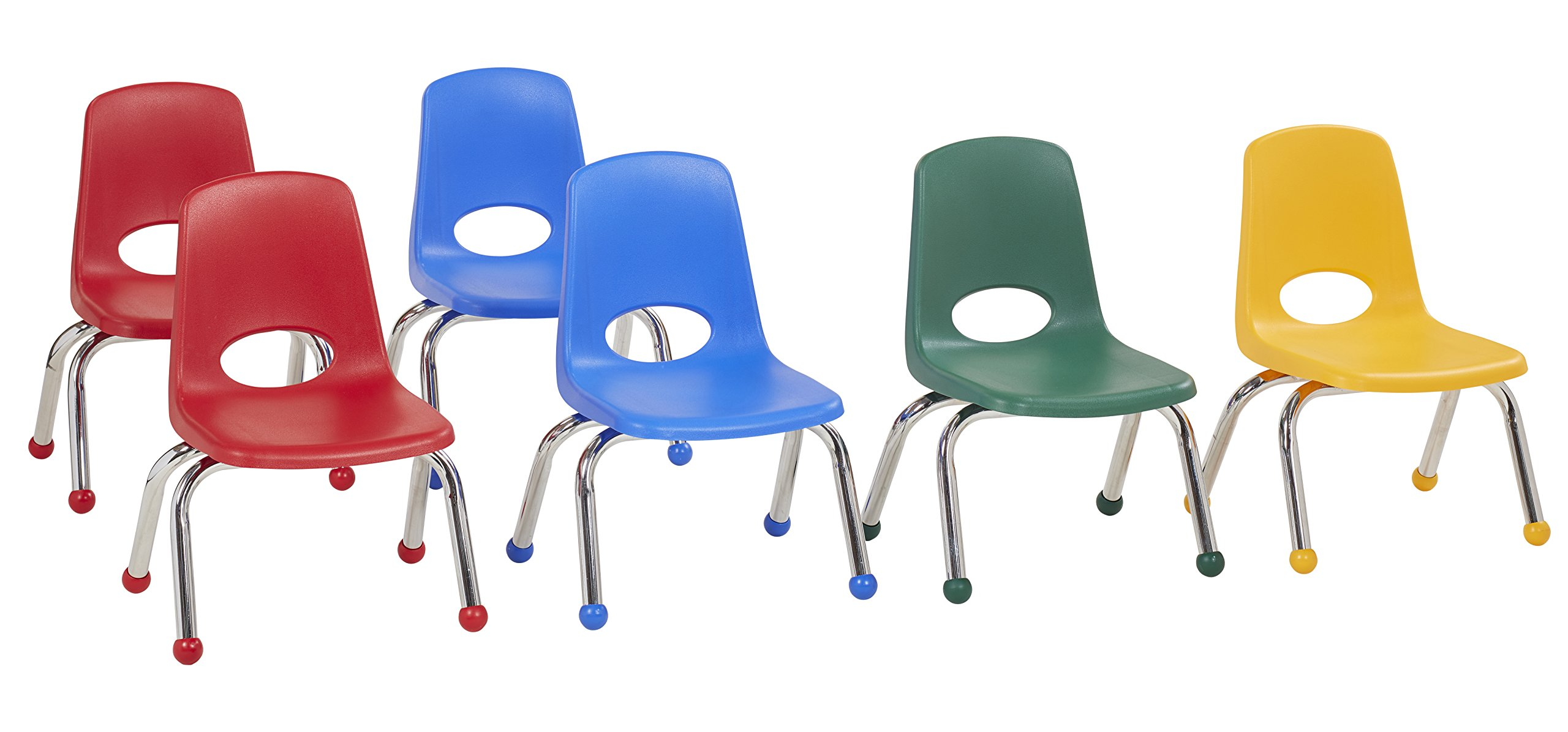 ECR4Kids 10'' School Stack Chair, Chrome Legs with Ball Glides, Assorted (6-Pack)