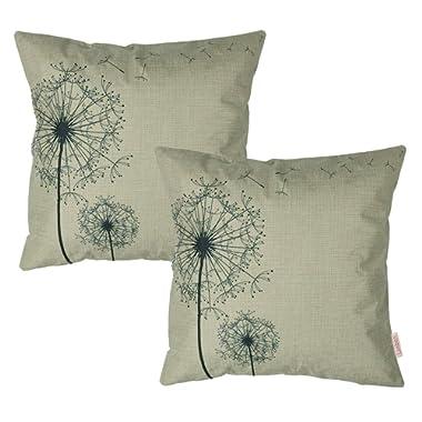 Luxbon Set 2Pcs Morden Stylish Simplicity Farmhouse Dandelion Floral Decor As You Wish Cotton Linen Throw Pillow Cases Sofa Couch Chair Decorative Cushion Covers 18 x18 /45x45cm Insert Not Included
