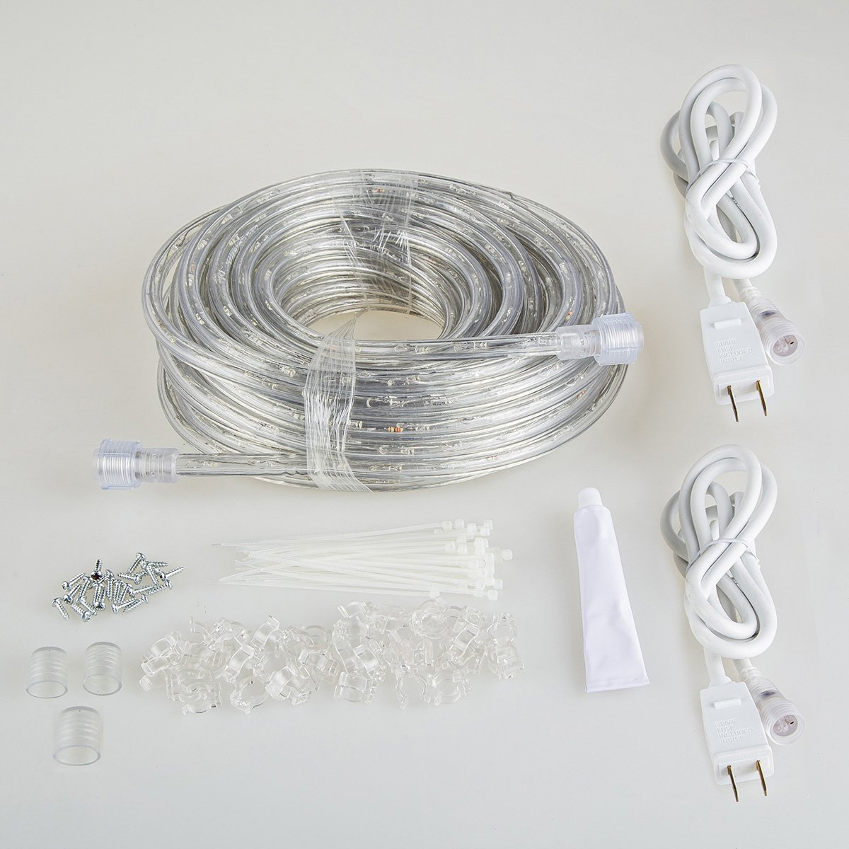 GuoTonG 50ft/15m Plugin Rope Lights, 540 Warm White LEDs, 110V, 2 Wire, Waterproof, Connectable,Power Socket Connector Fuse Holder, Indoor/Outdoor Use, Ideal Backyards, Decorative Lighting