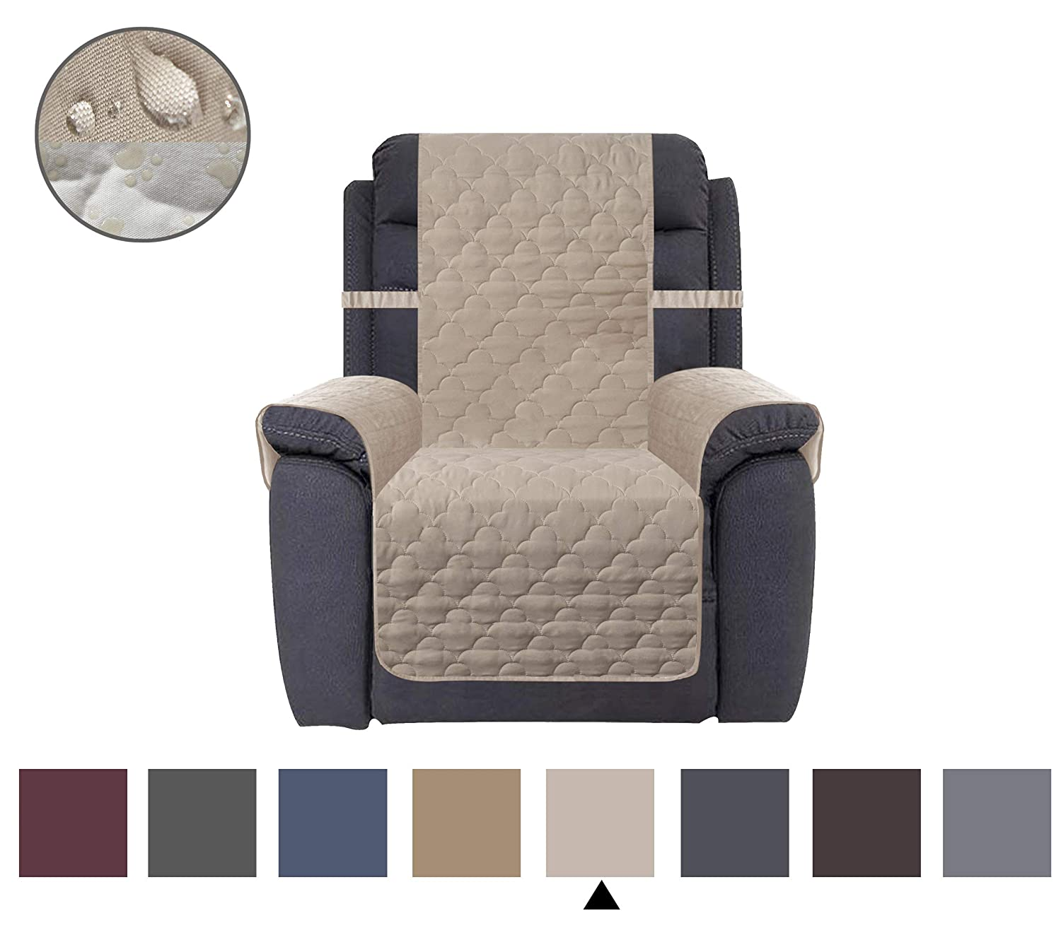 CHHKON Waterproof Nonslip Recliner Cover Stay in Place, Dog Couch Chair Cover Furniture Protector, Ideal Loveseat Slipcovers for Pets and Kids