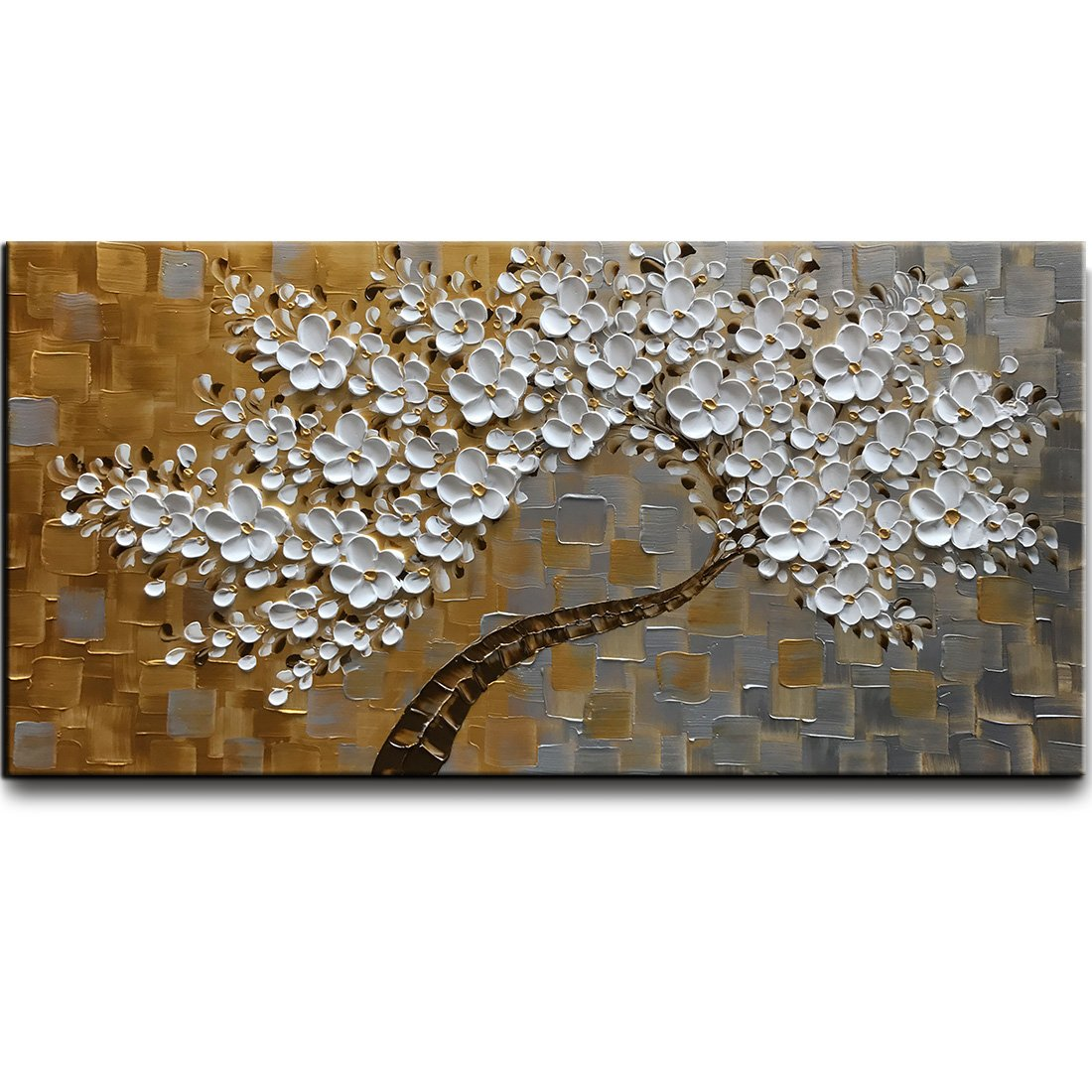 Kate 40x20 inch White Flower Hand Paintings Modern Oil Painting Home Wall Decoration
