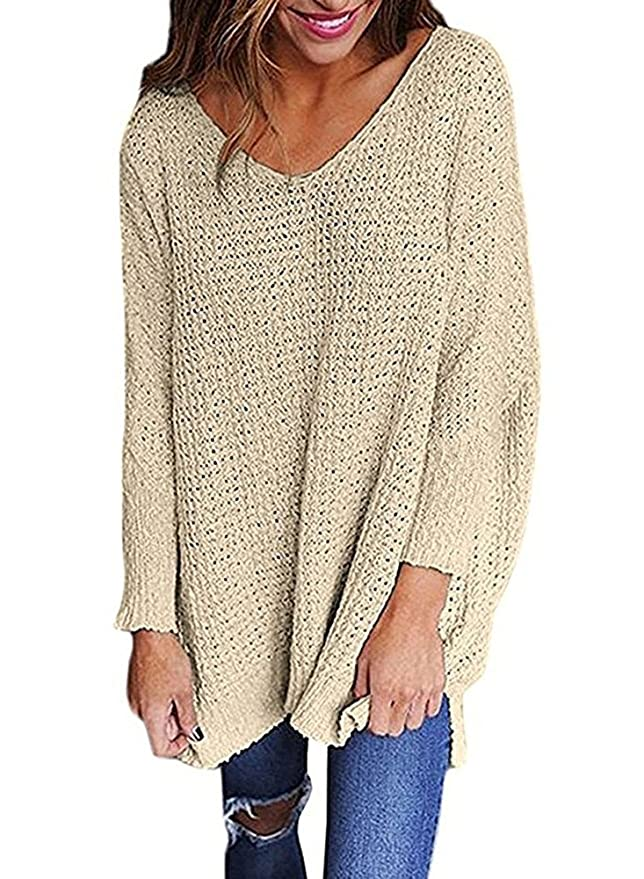 LHAYY Women Oversized Knitted Sweater Long Sleeve V-Neck Loose Top Jumper  Pullovers at Amazon Women s Clothing store  db205ebcc