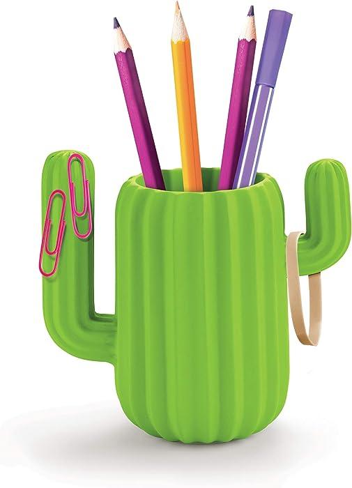 Mustard Pen Holder Desktop Organiser - Green Cactus