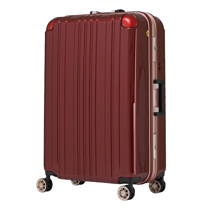 【レジェンドウォーカー】LEGEND WALKER スーツケース アルミフレーム 鏡面ボディ TSAロック 軽量 機内持込~大型 5122 B0798JYGPZ Sサイズ(ファスナー)|ワインレッド ワインレッド Sサイズ(ファスナー)
