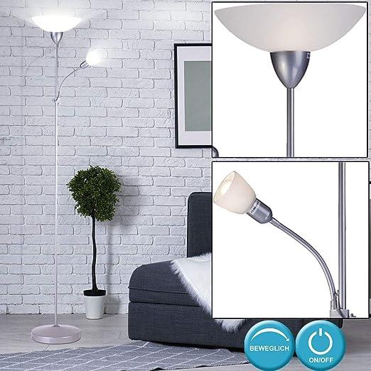 LED Stehleuchte Leselampe Wohnzimmer Deckenfluter Höhe 178 cm beweglich Glas