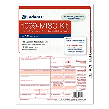 Adams 1099 Misc Tax Forms For 2017 5 Part Form Sets For 12 1096