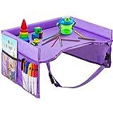 Hangnuo ベビーテーブル チャイルドトレイ 折りたたみ 収納 撥水 メッシュポケット シート固定バンド付き 幼児 机 デスク テーブル 子供 チャイルドシート (紫)