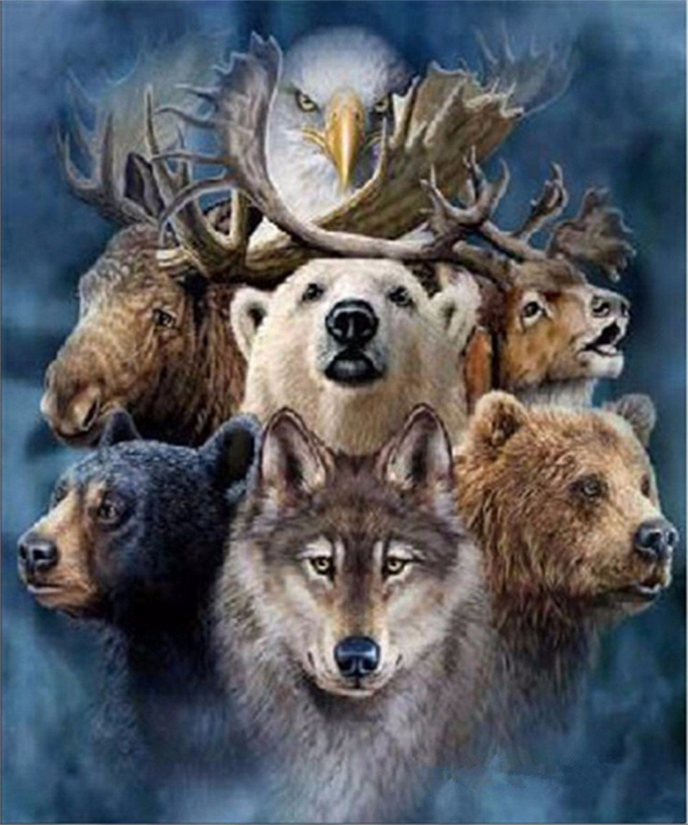 EOBROMD 5D Diamond Painting by Number Kits, DIY Rhinestone Embroidery Full Drill Cross Stitch Arts Craft for Home Wall Decor - Animals 12 x 16inch