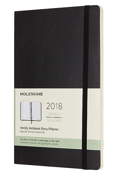 Agenda semanal 2018 12 meses, 13 x 21 cm, tapa blanda (color negro), L