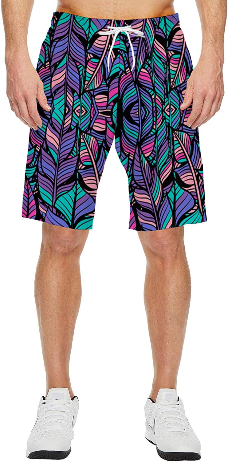 Mens Beach Shorts Modern Color Leaves Summer Casual Quick Dry Short Pants Stretch Swimming Trunks with Pocket