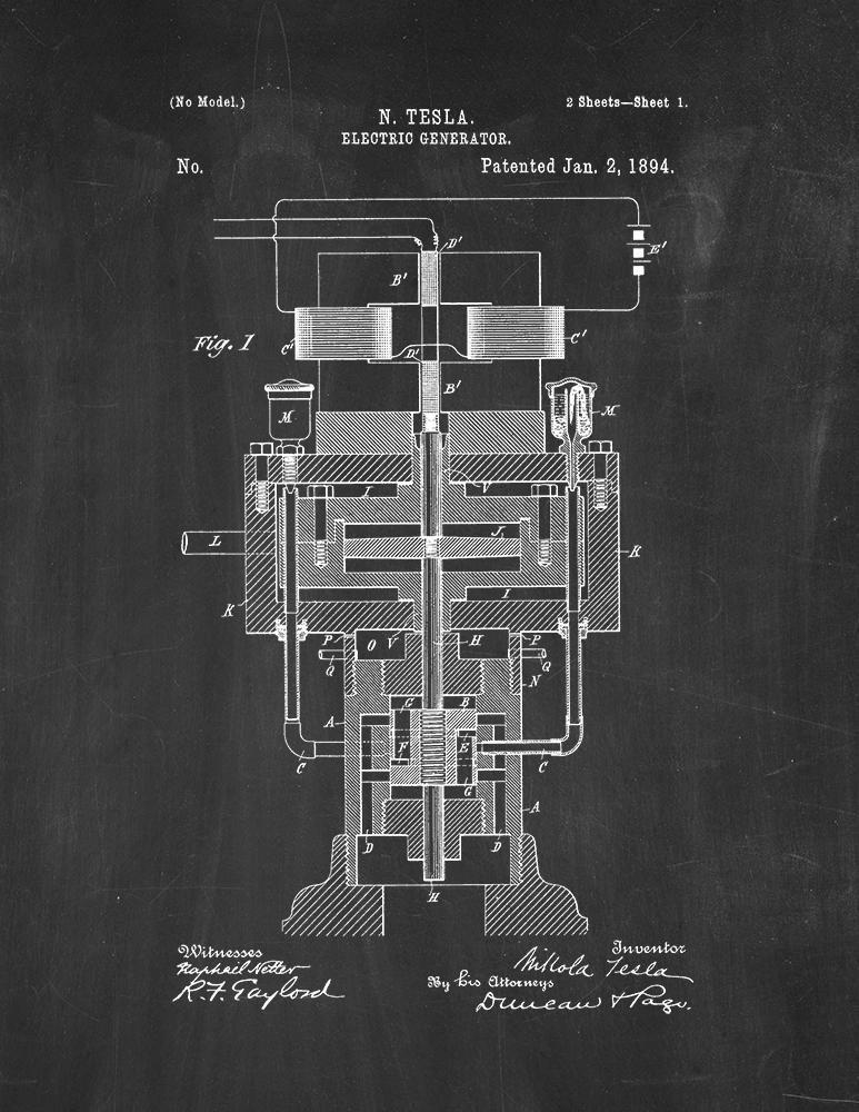 Tesla generador eléctrico patente pizarra decorativa (21,59 ...