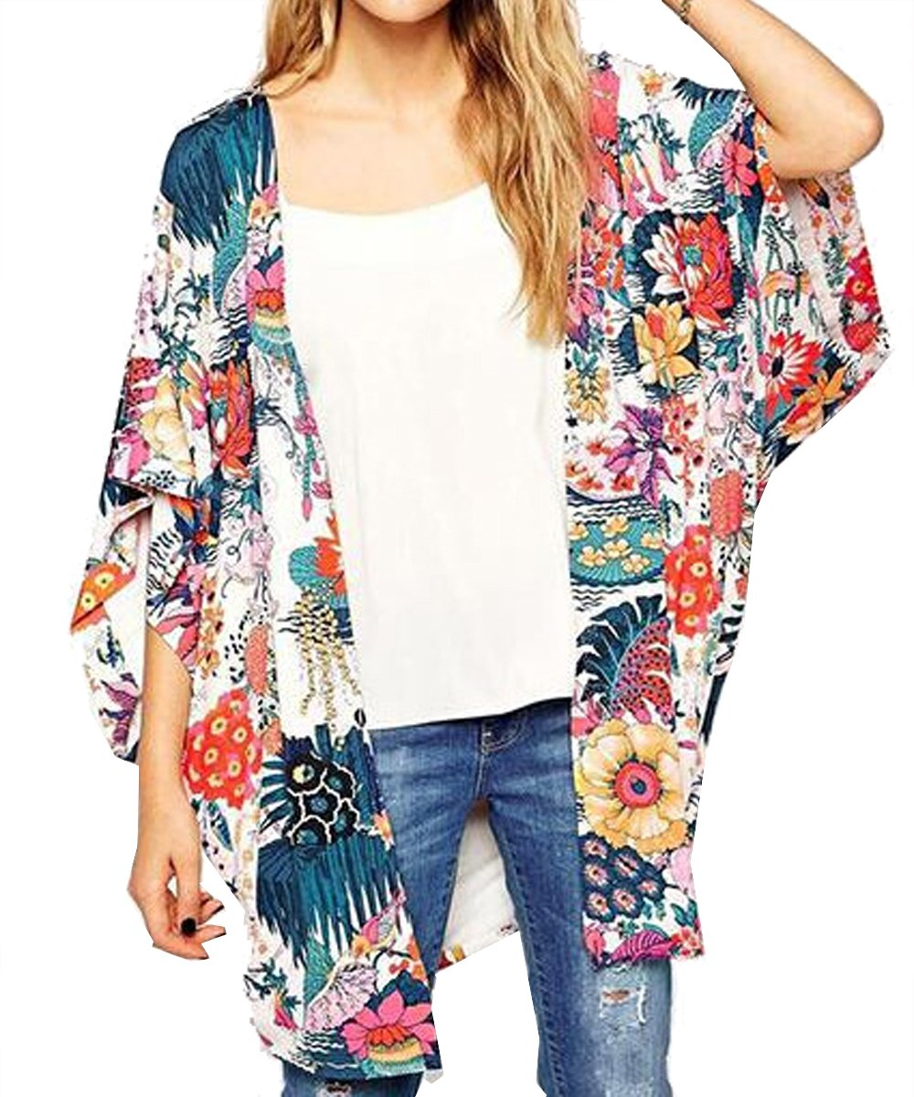 Relipop Women's Sheer Chiffon Blouse Loose Tops Kimono Floral Print Cardigan (Medium, Colorful)