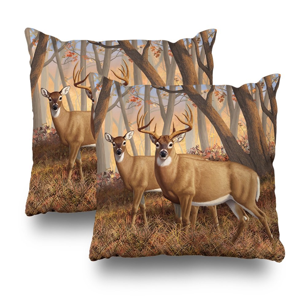 Decorativepillows Set Of 2 18 x 18 inch Throw Pillow Covers,Whitetail Deer Buck Doe Autumn Maple Woods Pattern Double-sided Decorative Home Decor Indoor/Outdoor Garden Sofa Bedroom Car Kitchen Nice