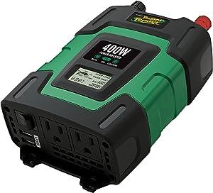 Battery Tender 12V, 400 Watt Power Inverter: DC 12V to 115V AC Car Inverter, Dual AC Output To Power Laptops, Blenders, TVs, Printers, and 2 USB Ports, 5 VDC, 3.1A Total Output For Smartphone Charging