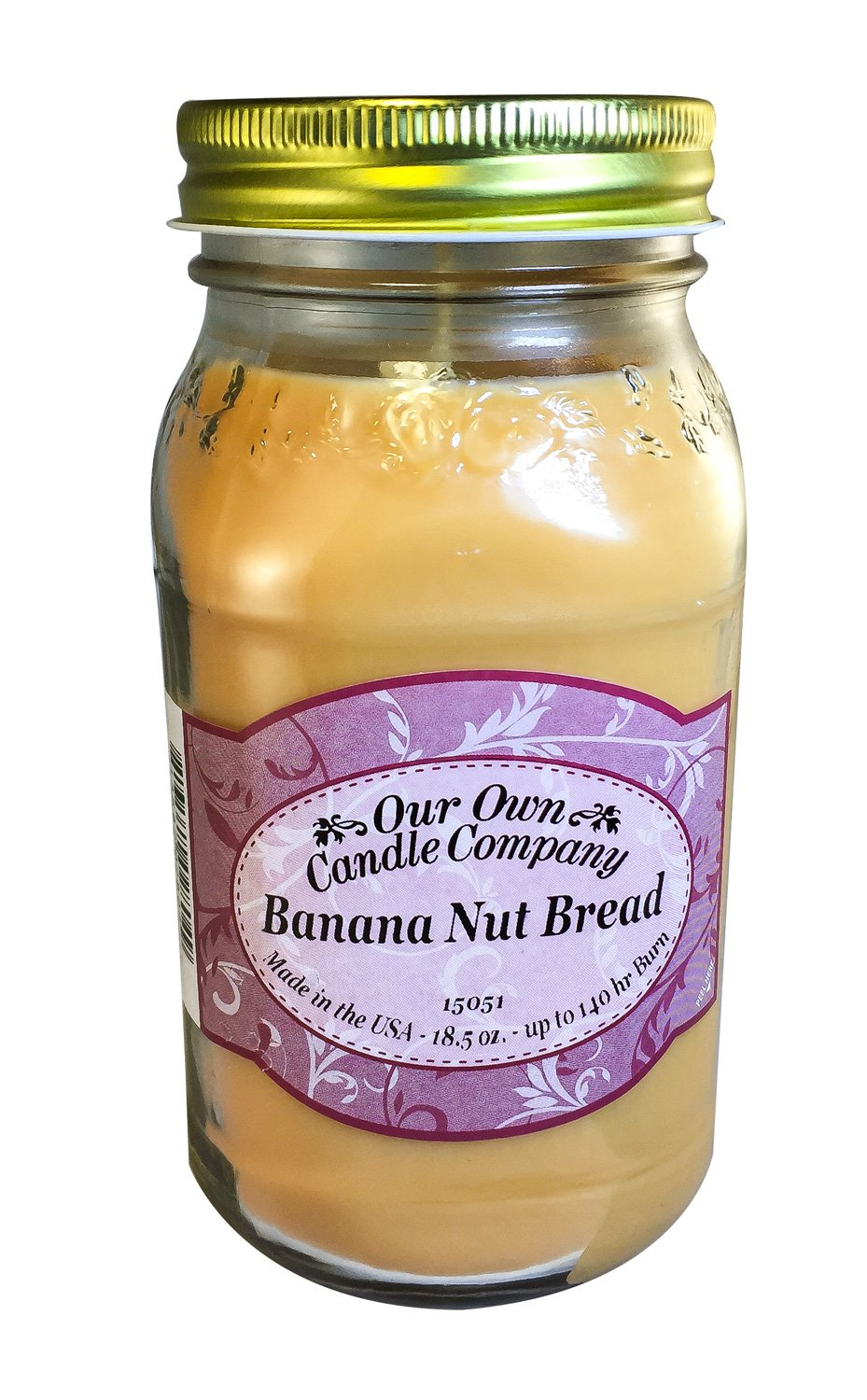 Our Own Candle Company French Vanilla Scented Mason Jar Candle by, 18 Ounce SINH18-VN