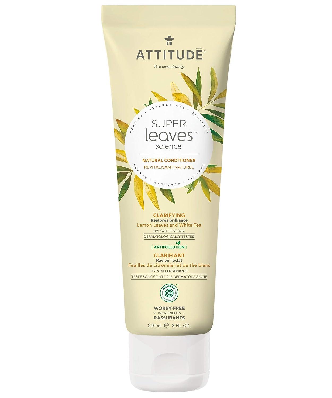 ATTITUDE Super Leaves, Hypoallergenic Clarifying Conditioner, Lemon Leaves & White Tea, 8.1 Fluid Ounce