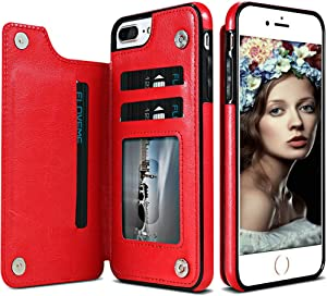 iPhone 7 Plus Wallet Case,iPhone 7 Case with Card Holder,Auker Slim Thin Folio Flip Leather Secure Fit Magnetic Clasp Closure Purse Phone Case with Wallet&Credit Card Slots for iPhone 7 Plus (Red)
