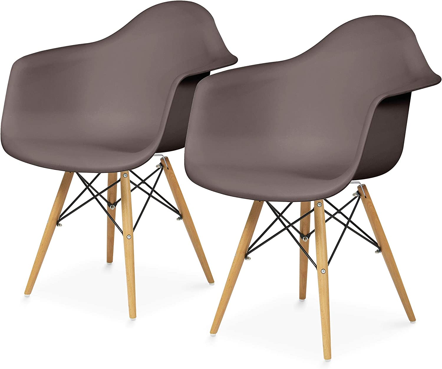 Best Choice Products Mid-Century Modern Eames Style Accent Arm Chairs for Dining, Office, Living Room, Set of 2, Taupe