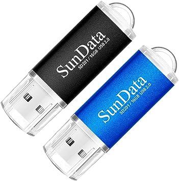 SunData Memorias USB 2 Piezas 16GB PenDrives 16GB Unidad Flash USB2.0 Pen Drive con Luz LED (2 Colores: Negro Azul): Amazon.es: Electrónica
