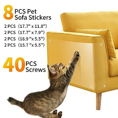 Pidsen Protector de Muebles Gatos, 8PCS Transparente Autoadhesivas contra Arañazos de Gato Protector con 40 Tornillos Rascador para Gatos y Perro, ...