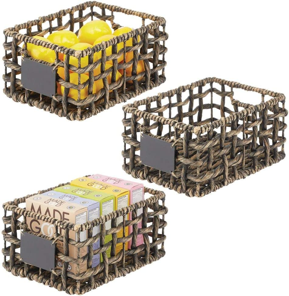 mDesign Water Hyacinth Open Weave Kitchen Cabinet Pantry Basket with Built-in Chalkboard Label for Snacks, Produce, Vegetables, Pasta - Food Safe 3 Pack - Black Wash