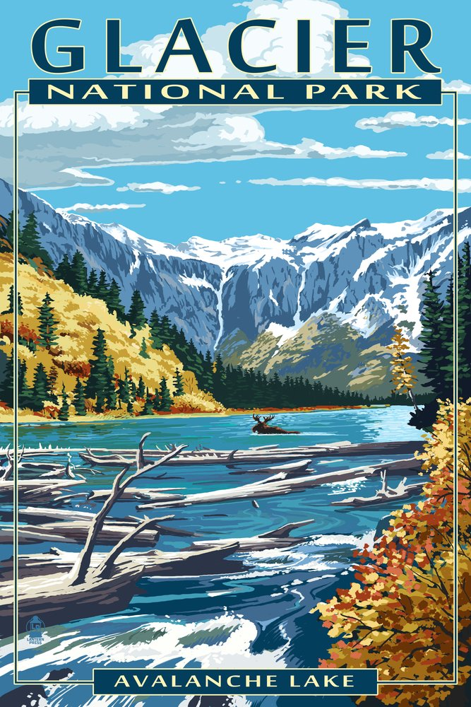Avalanche Lake – グレイシャー国立公園、モンタナ 16 x 24 Giclee Print LANT-40936-16x24 B00N5CUDTI 16 x 24 Giclee Print16 x 24 Giclee Print