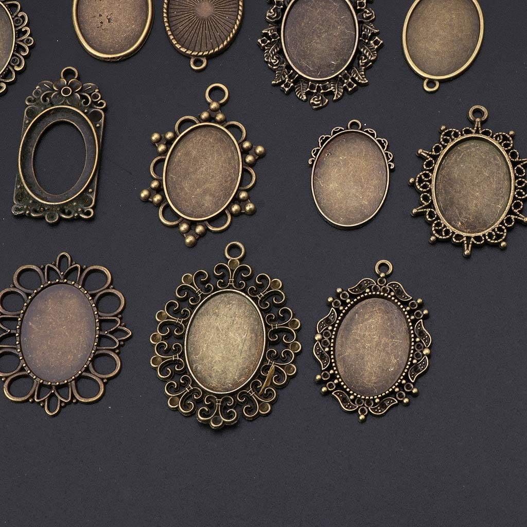 SimpleLife 20 Piece Mixed Cabochon Frames Bezel Pendant Trays Kits for DIY Jewelry Making