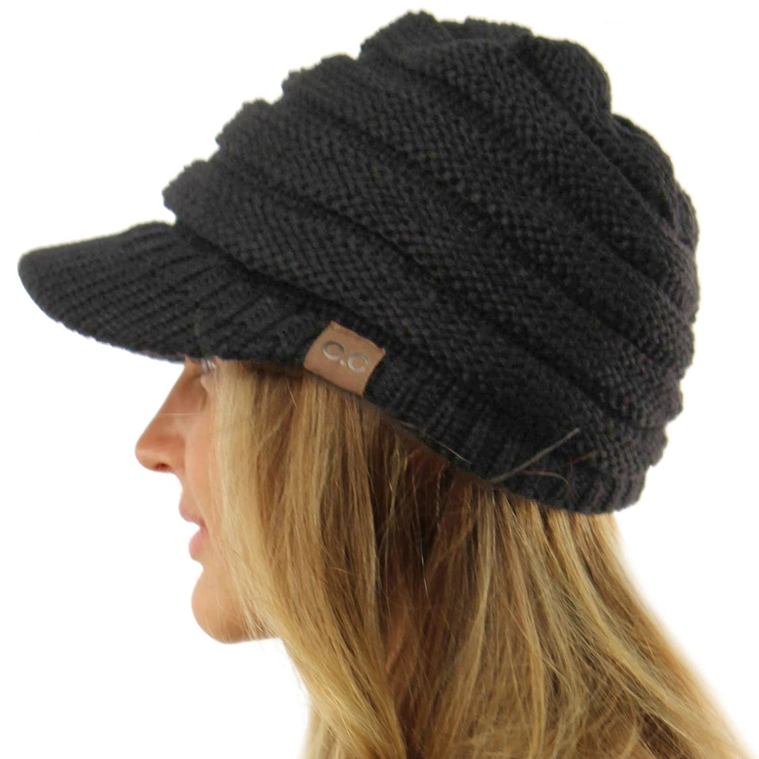 Unisex Winter Thick Chunky Stretch Knit Beanie Skully Visor Jeep Hat  Charcoal M at Amazon Men s Clothing store  add3b9b2f9a