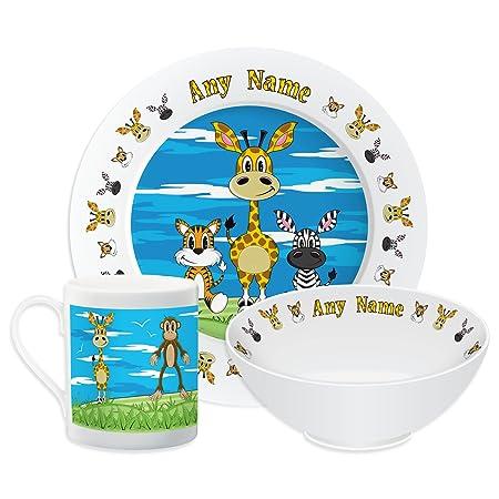 Personalised Dinner Set For Kids Giraffe Theme Set Childrens Tableware Dinner Plate  sc 1 st  Amazon UK & Personalised Dinner Set For Kids Giraffe Theme Set Childrens ...