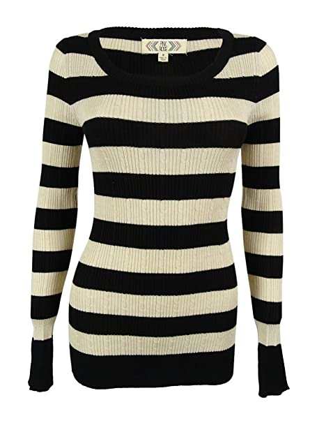 0a5ca82b413 Amazon.com  PINK ROSE Juniors  Striped Rib Knit Sweater  Clothing