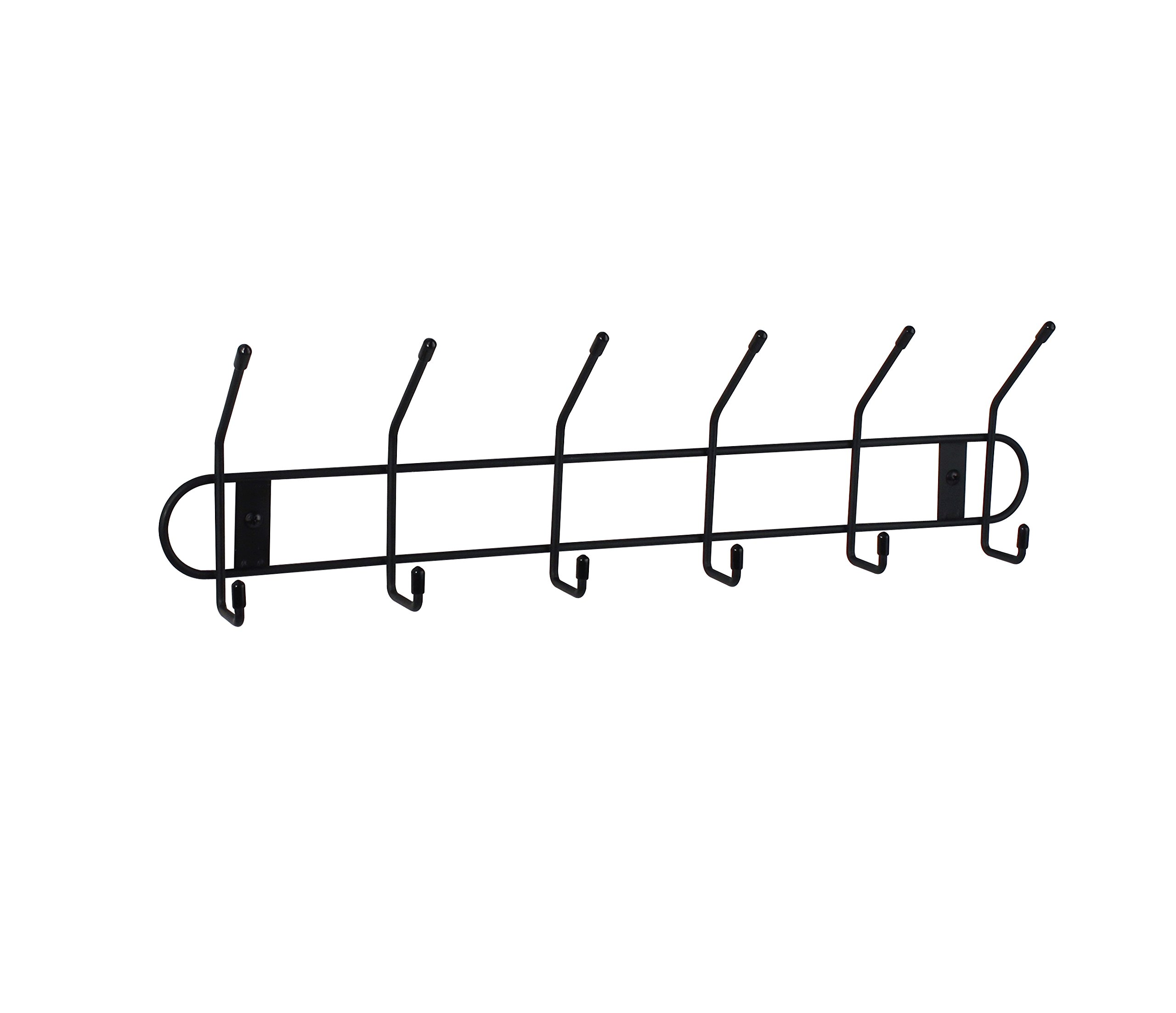 Spectrum Diversified Wall Hook Rack, 6 Hook, Black - Hang and store your hats, coats, purses and more Great for storing garage items such as hoses, extension cords, shovels and rakes Sturdy steel construction - entryway-furniture-decor, entryway-laundry-room, coat-racks - 71uIWUAWz%2BL -