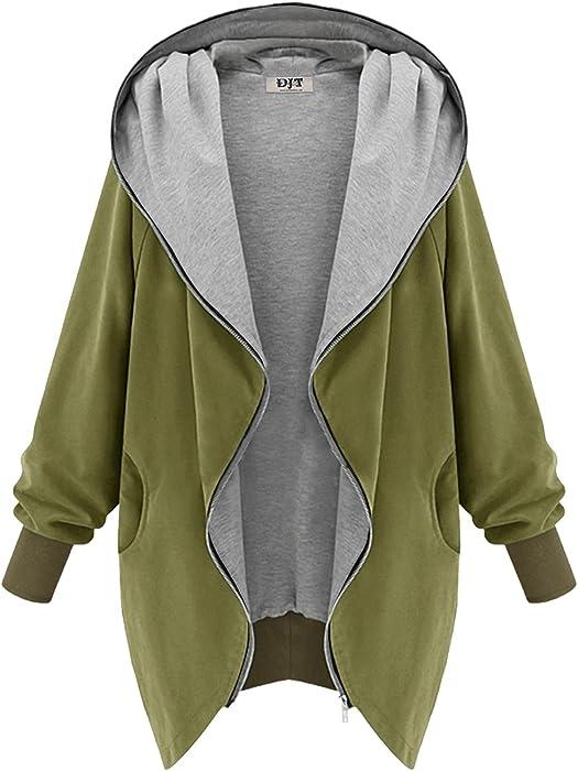 2508aff2cd045 DJT Mujeres Abrigo Gabardina Impermeable de Manga Larga con Capucha Coat  Jacket Militar Verde S