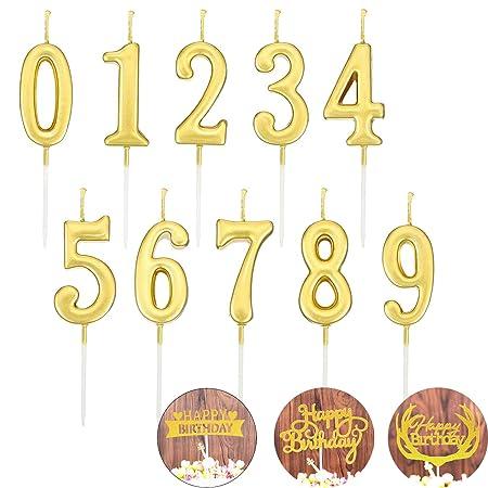 YFOX 10 Piezas de cumpleaños Digital Vela y 3 Tarjetas de cumpleaños Torta de la Vela Pastel Sombrero de la decoración de la Fiesta de cumpleaños ...