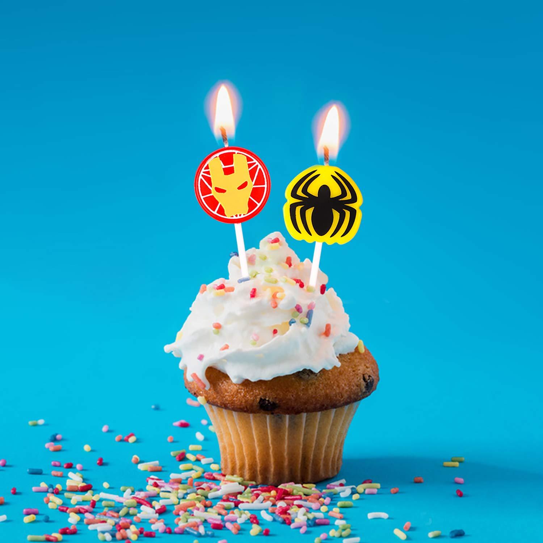 Amazon.com: PANTIDE 6 velas de cumpleaños de superhéroe para ...