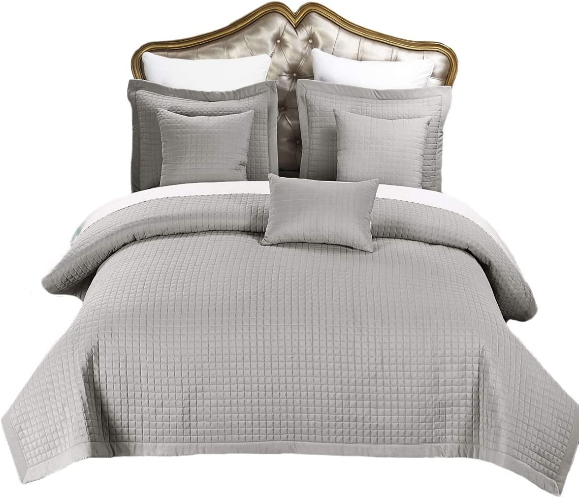 Royal Hotel Bedding Checkered Style Soft and Plush Coverlet, 3PC Set Stiched Filled Bedspread, Extra Soft Bed Cover, Checkered Pattern Quilted Bed Quilt, Gray, King