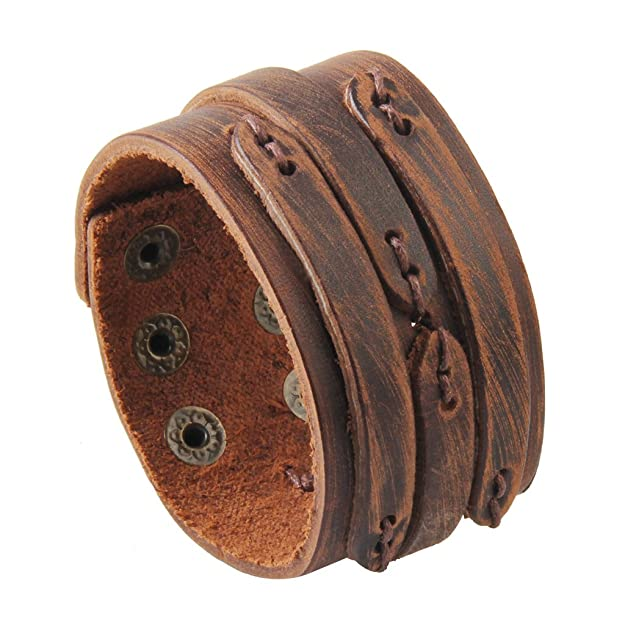 Jenia Adjustable Genuine Leather Bracelet Wide Brown Belt Cuff Bangle Handmade Jewelry for Men, Boy, Kids, Women