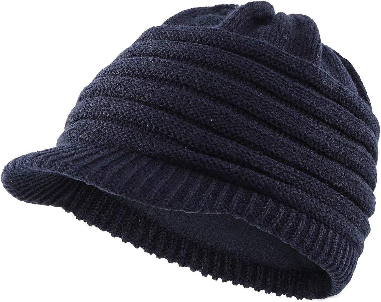 Home Prefer Mens Winter Beanie Hat with Visor Acrylic Fleece Knit Newsboy Cap