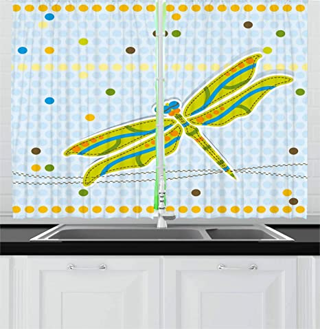 Ambesonne Dragonfly Kitchen Curtains Dragonfly Over Little Circular Spots And Dots Kids Cartoon Window Drapes 2 Panel Set For Kitchen Cafe Decor 55 X 39 Lime Green Pale Blue Home