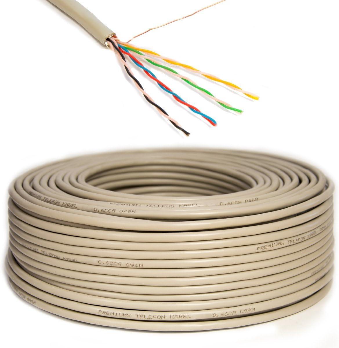 ST Y Cable de instalaci/ón redondo de 100 m l/ínea telef/ónica 8 cables 100m Cable telef/ónico PremiumX 4x2x0,6 mm J-Y