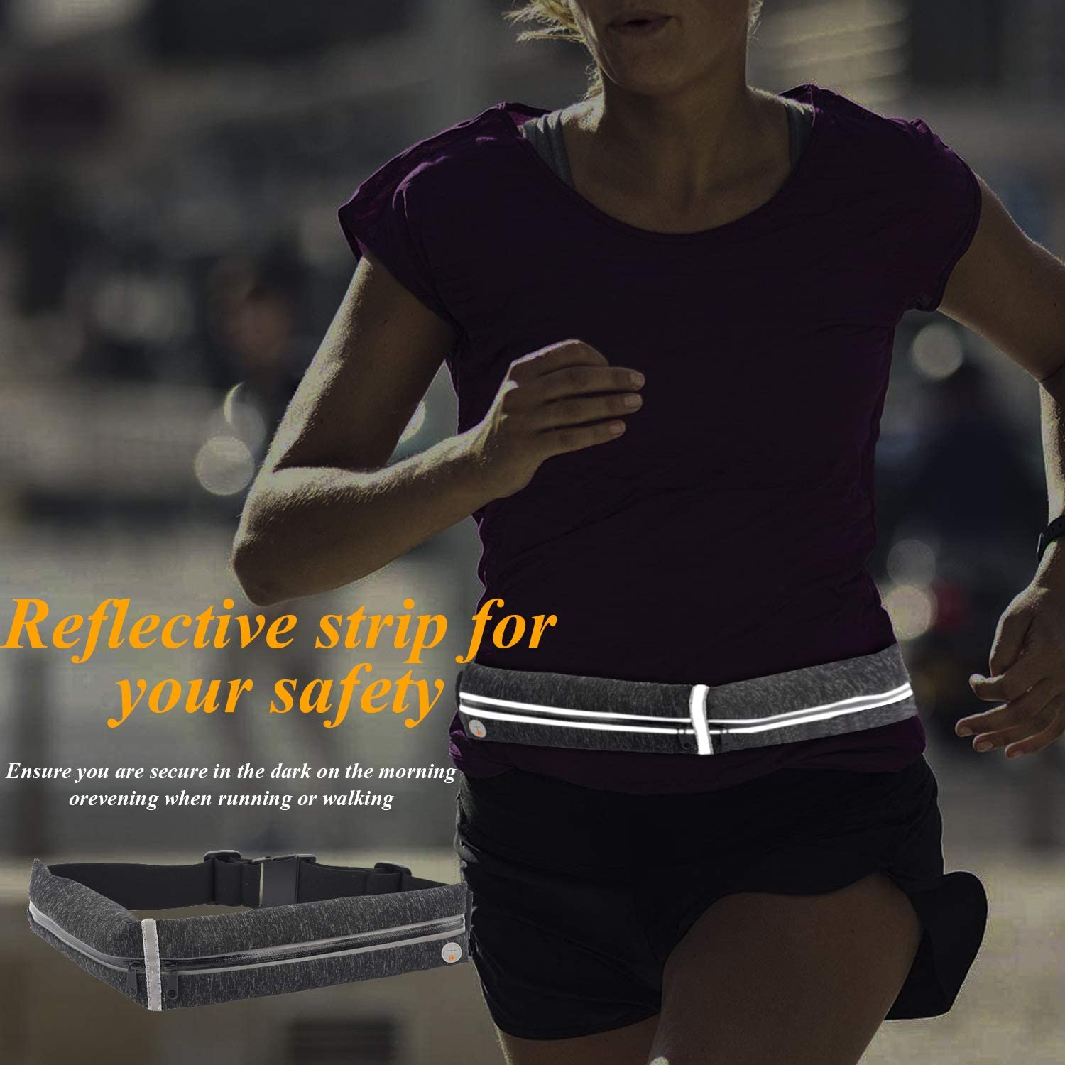 maxtop Running Belt for Phone Fanny Pack for Women Men Runners Belt Reflective Adjustable Running Pouch Waist Pack for Fitness Workout