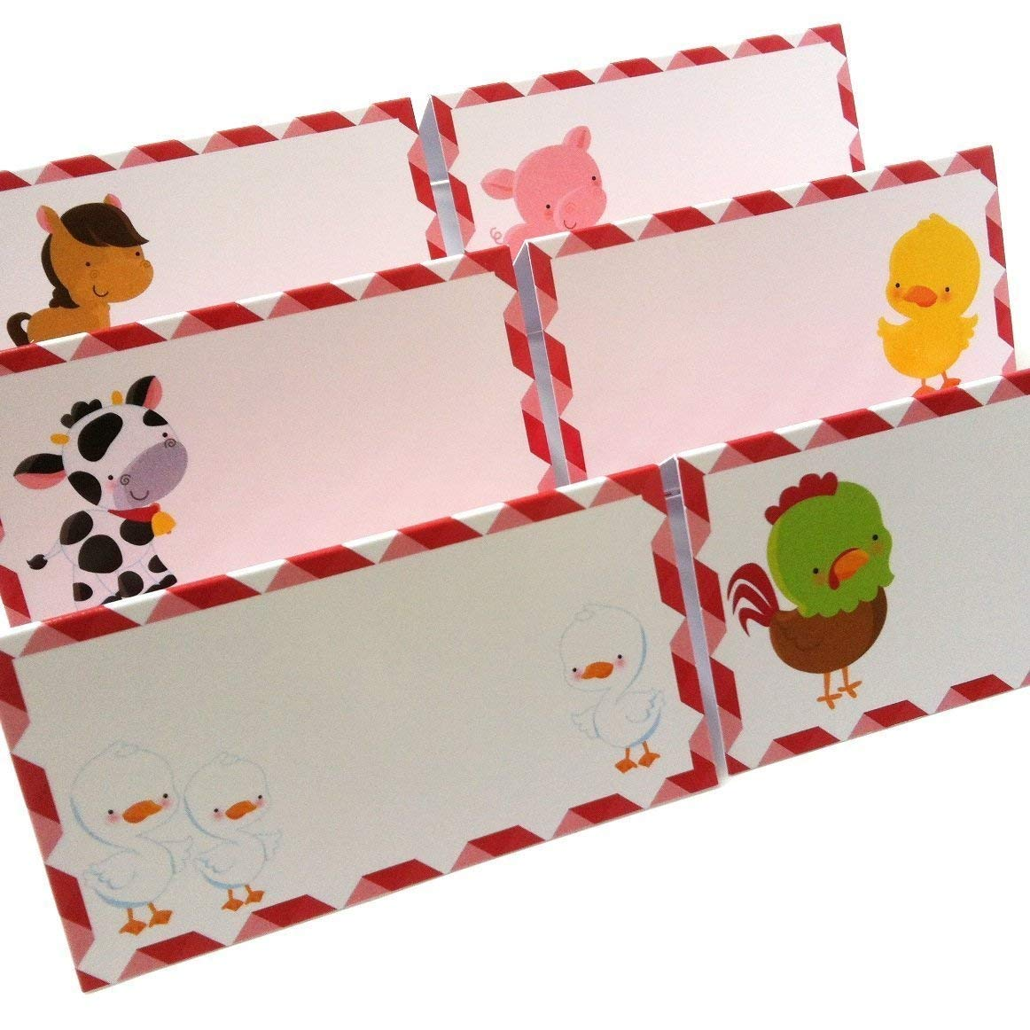 Boy Girl Birthday Baby Shower Party Supplies Set of 12 Farm Animals Place Tent Cards