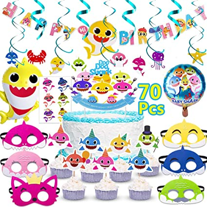 Shark Birthday Cake Topper One Kids Happy Birthday Cake Topper and 24 pcs Cupcake Toppers /… Baby Shark Happy Birthday Party Supplies Set Little Shark Birthday Cake Topper
