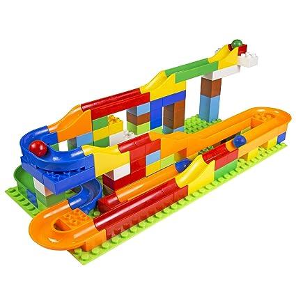 Amazon Com Mega Fun Usa Building Blocks Marble Fun Run 125 Piece