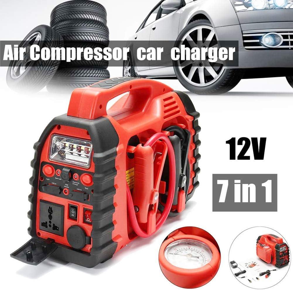 7 en 1 multifunción compresor de aire 12V, elevador para el automóvil portátil cargador de batería de arranque Jump: Amazon.es: Bricolaje y herramientas