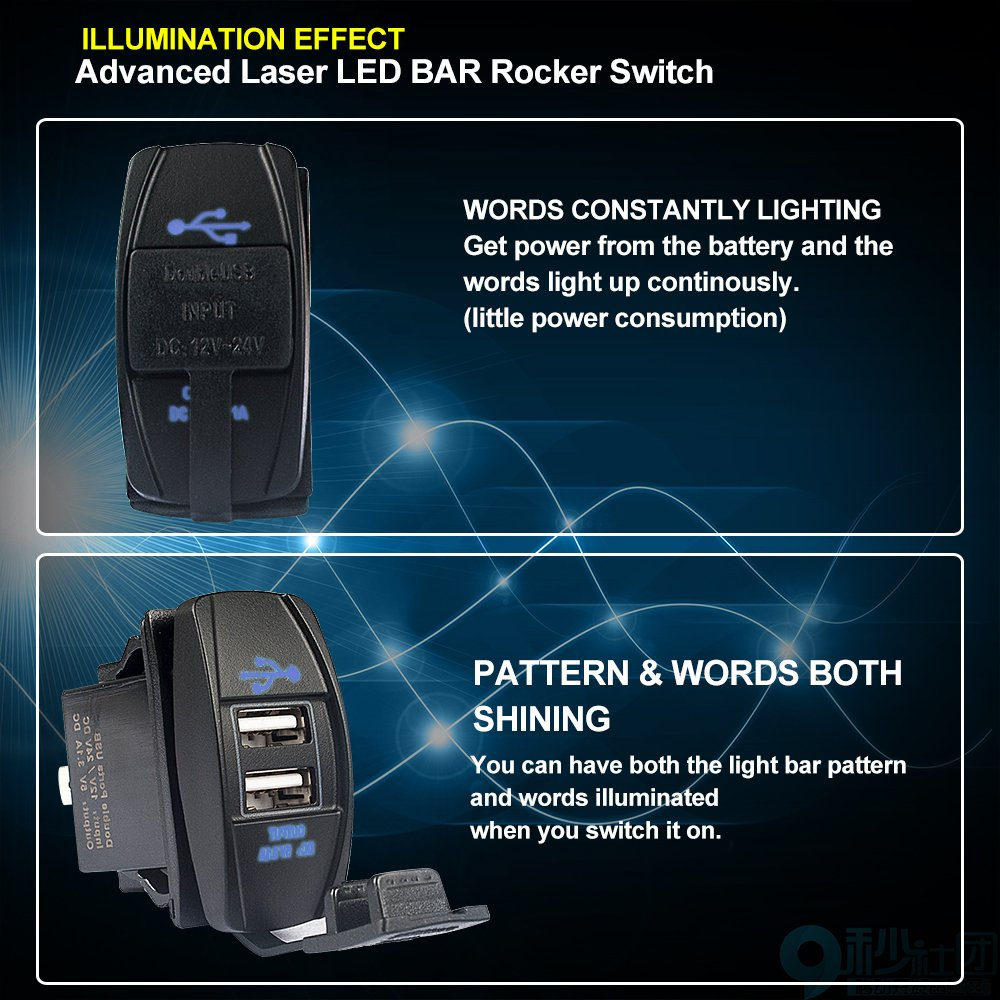 4xbeam Light Bar Rocker Switch 5 Pin Laser On Off Waterproof 12v Lighted Spst All Electronics Corp Switches 20a