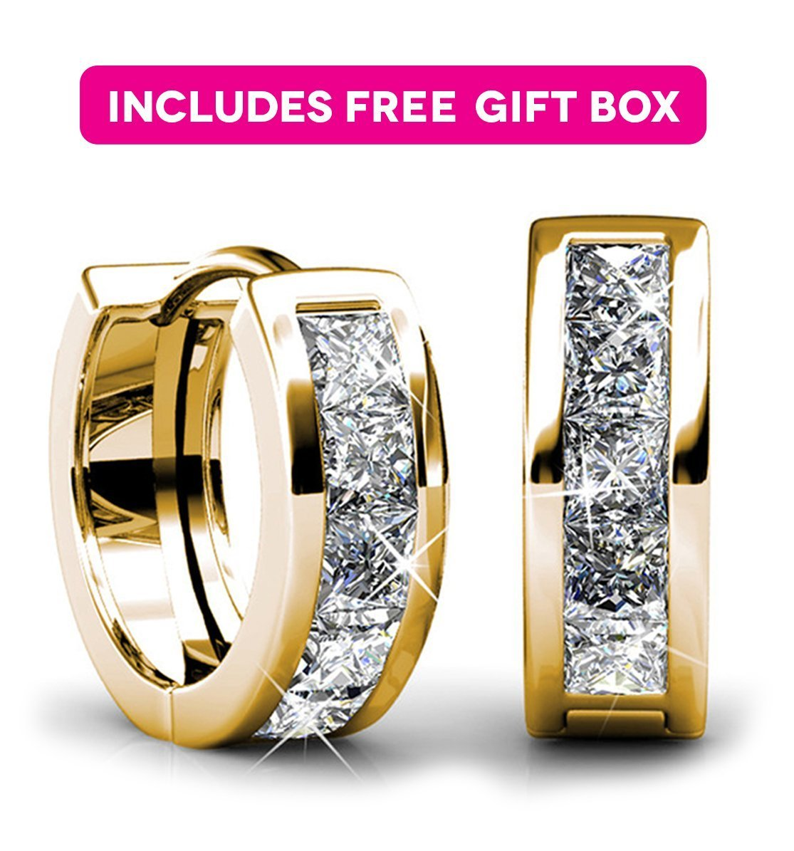 Jade Marie BREATHTAKING Small Gold Huggie Hoop Earrings, 18k Yellow Gold Plated Tiny Hoops with Princess Cut Swarovski Crystals, Mini Hoop Hypoallergenic Earrings for Women, Gifts for Girls,