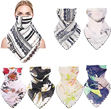Women Face Mask Scarf Floral Print Sun UV Protection Chiffon Cover Quick Dry